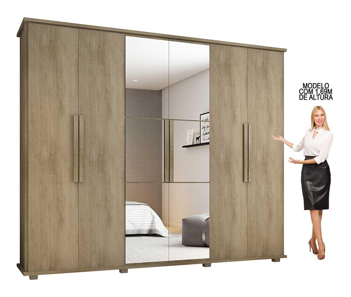 Guarda-Roupa Casal com Espelho 6 Portas 4 Gavetas Canadá Niágara - RV Móveis