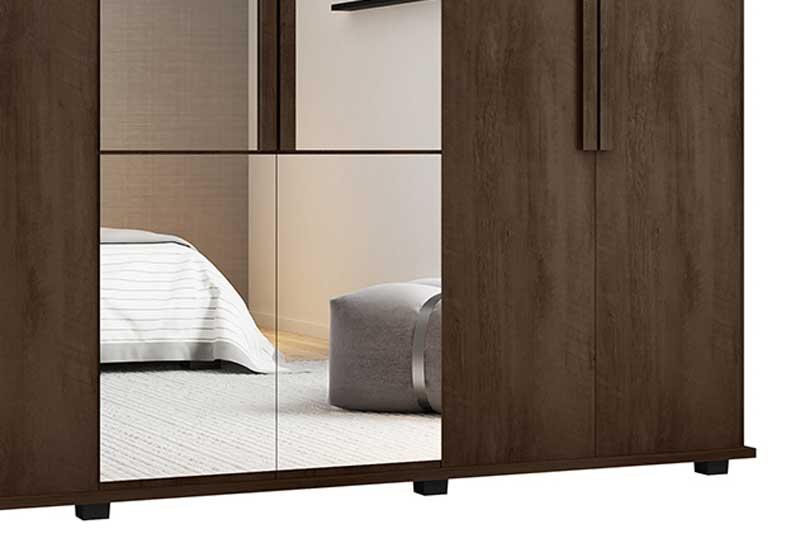 Guarda-Roupa Casal com Espelho 6 Portas 4 Gavetas Canadá Noce - RV Móveis