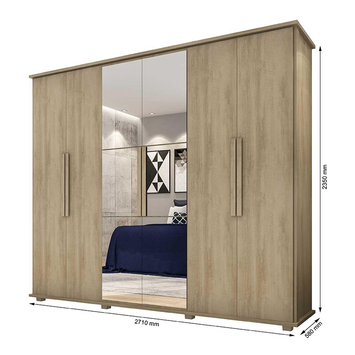 Guarda-Roupa Casal Estrela 6 Portas com Espelho Niágara - RV Móveis