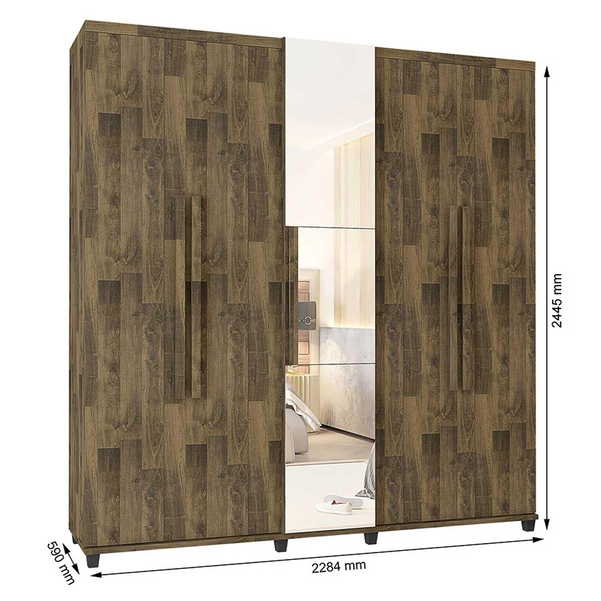 Guarda-Roupa Casal Munique 5 Portas com Espelho Amadeirado - RV Móveis