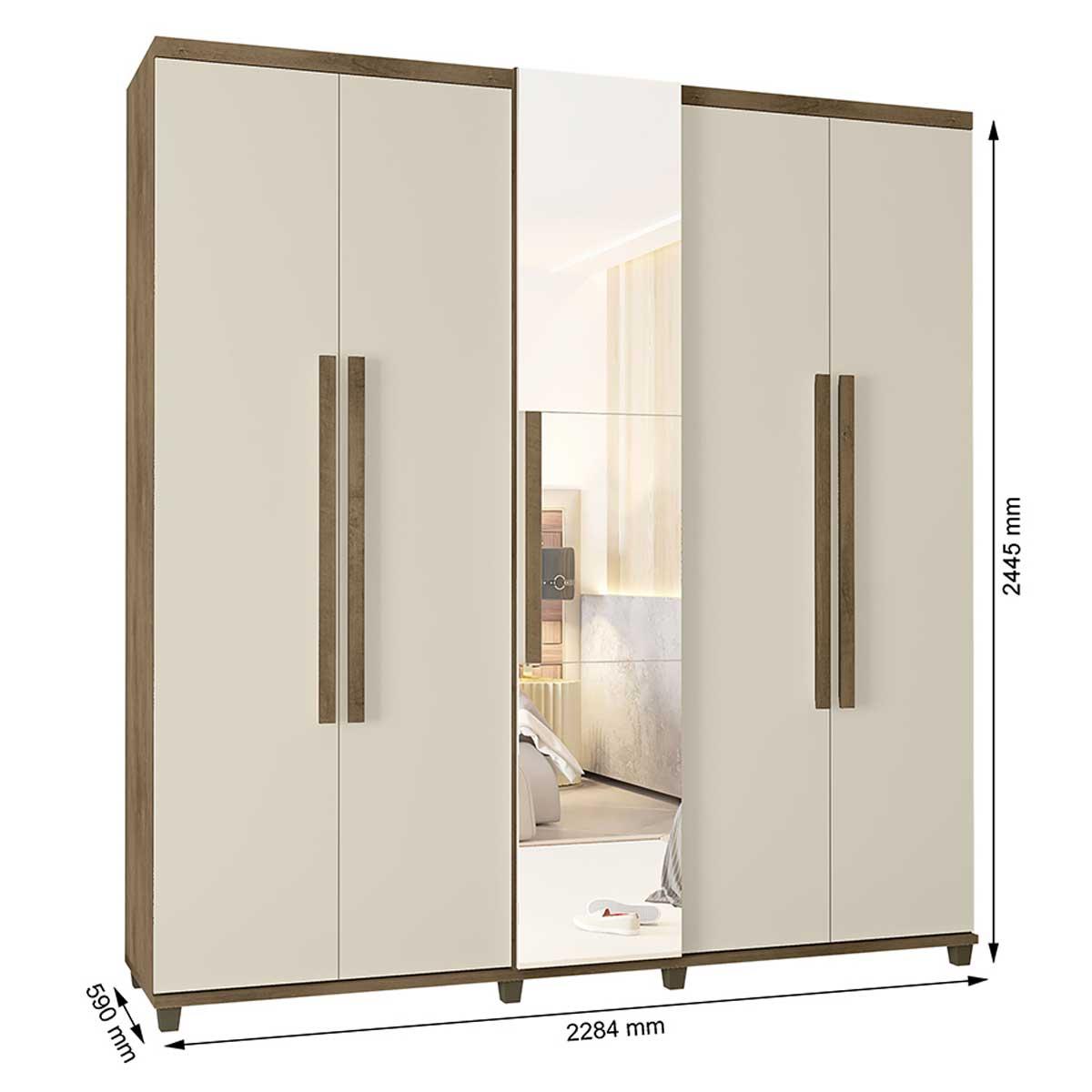 Guarda-Roupa Casal Munique 5 Portas com Espelho Freijó com Off White - RV Móveis