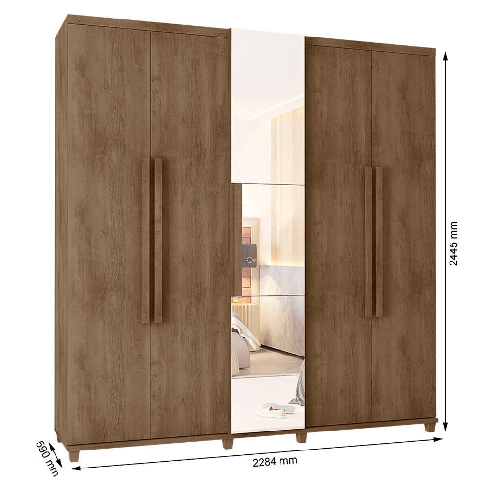 Guarda-Roupa Casal Munique 5 Portas com Espelho Freijó - RV Móveis