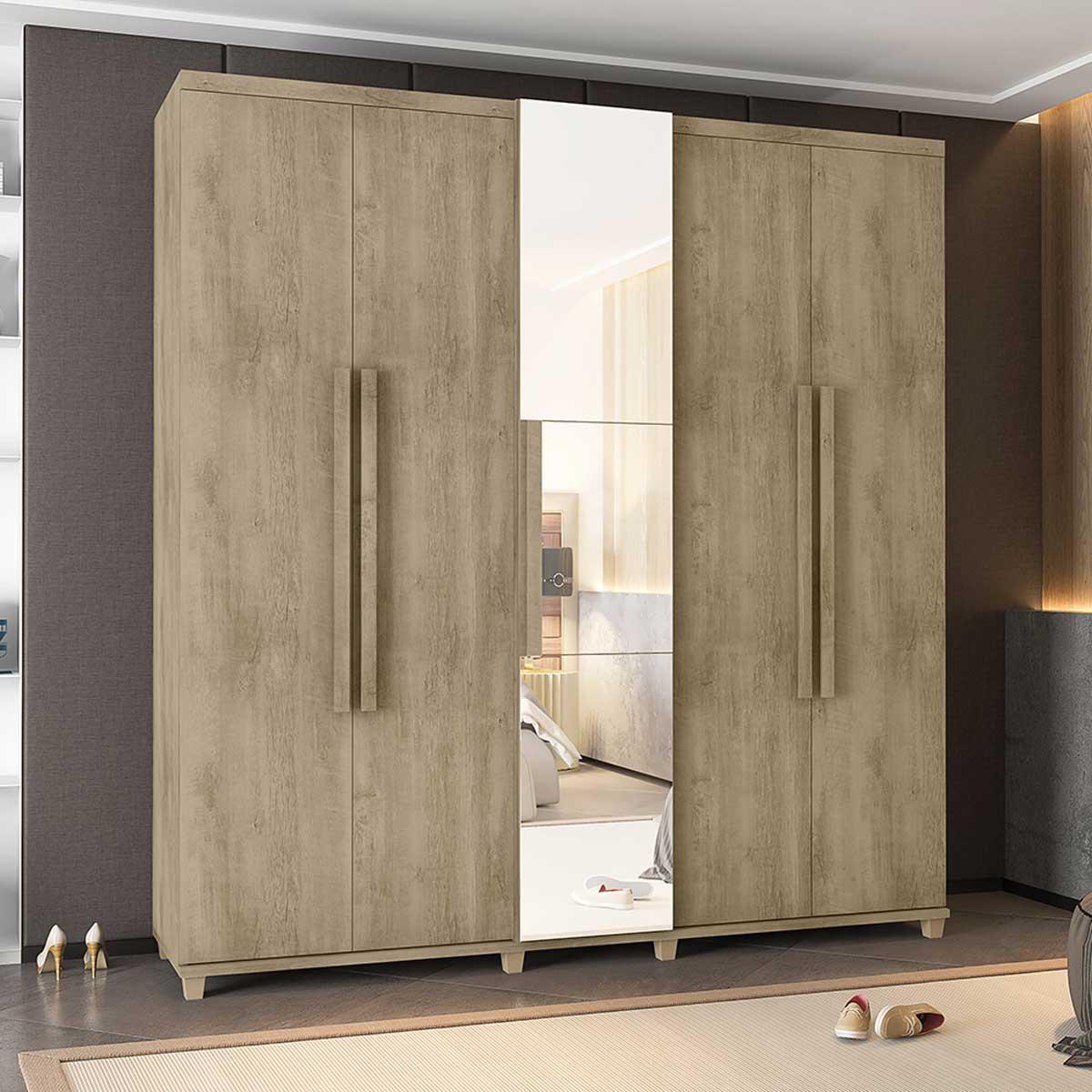 Guarda-Roupa Casal Munique 5 Portas com Espelho Niágara - RV Móveis