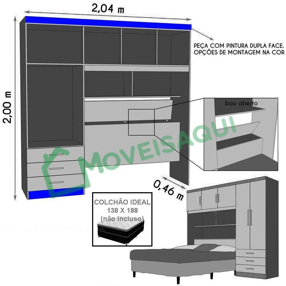 Guarda-Roupa com Cabeceira 5 Portas Cancun Itaúba - JeA Móveis