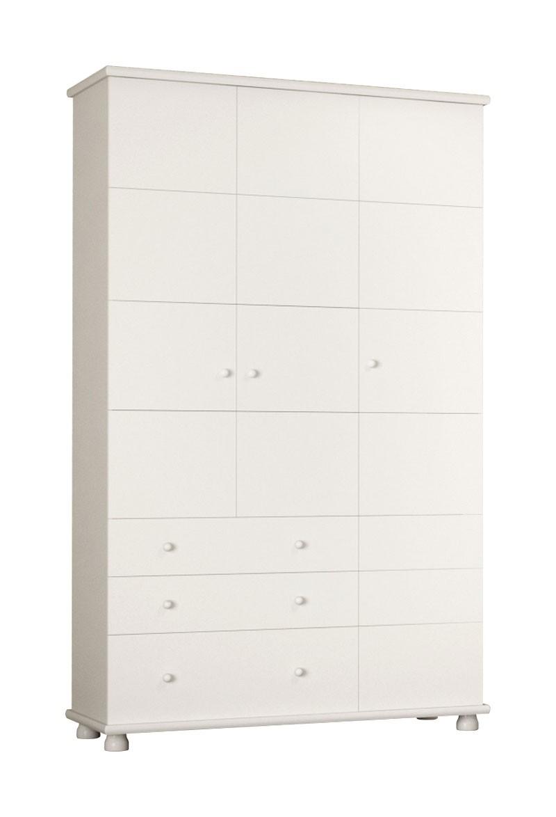 Guarda Roupa Diogo 3 Portas Branco Brilho - Imaza Móveis  - MoveisAqui - Loja de móveis online!