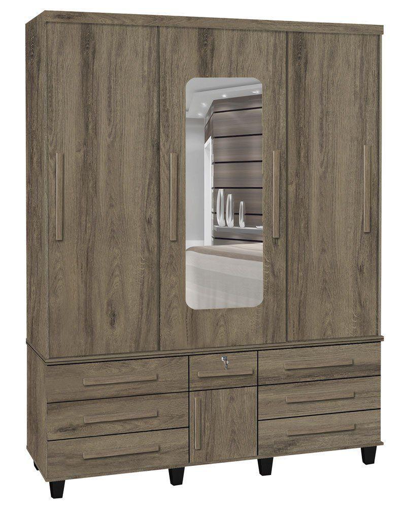 Guarda-Roupa Duplex Master 3 Portas de Correr com Espelho Teka - Trinobél Móveis