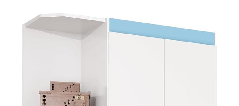 Guarda Roupa Encanto 2 Portas com Cantoneira Branco com Azul - Imaza Moveis