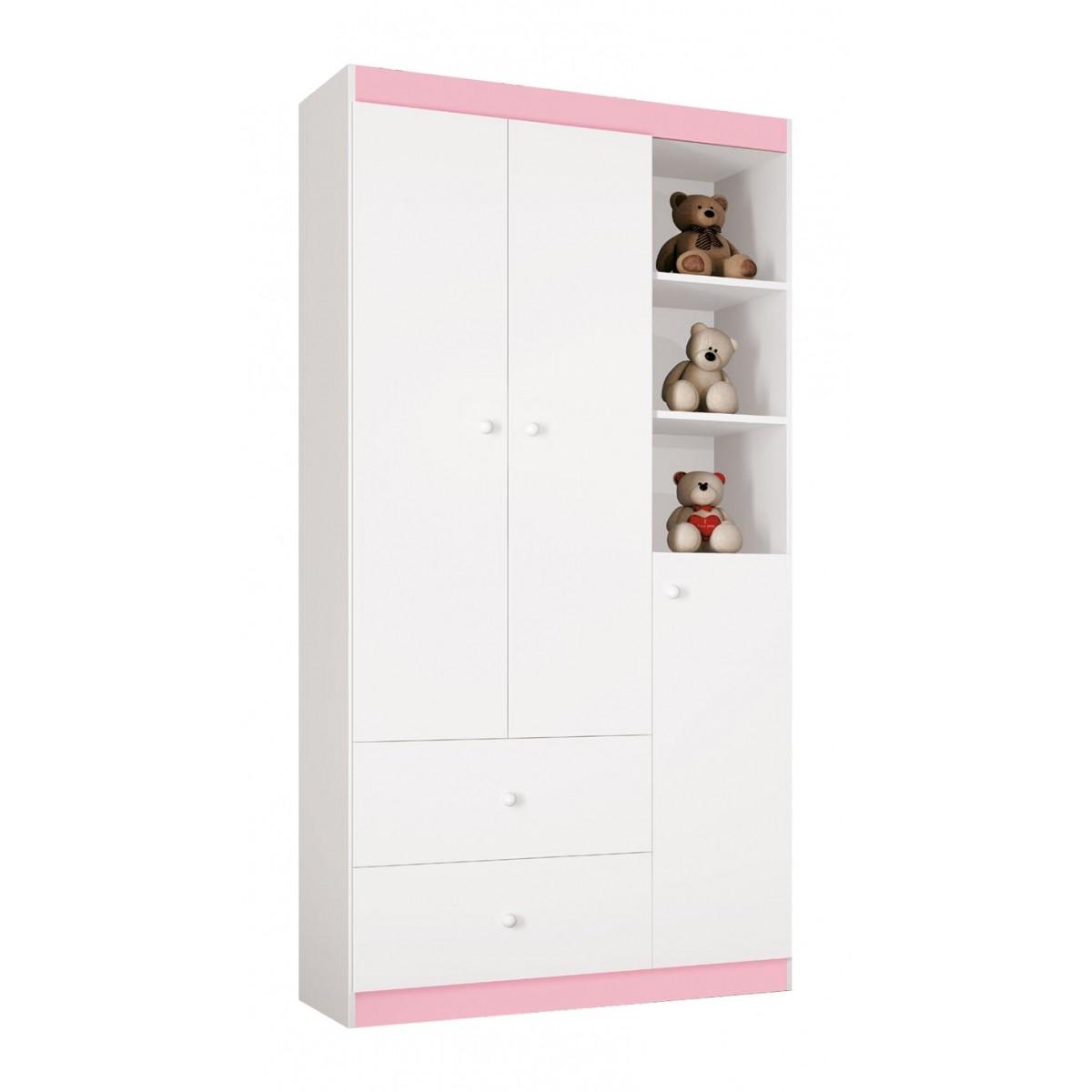 Guarda Roupa Encanto 3 Portas Branco com Rosa - Imaza Moveis