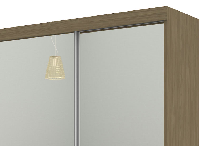 Guarda Roupa Europa 3 portas de espelho Amêndoa - Mirarack