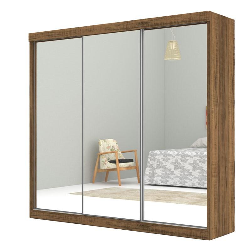 Guarda Roupa Europa 3 portas de espelho Rústico - Mirarack  - MoveisAqui - Loja de móveis online!