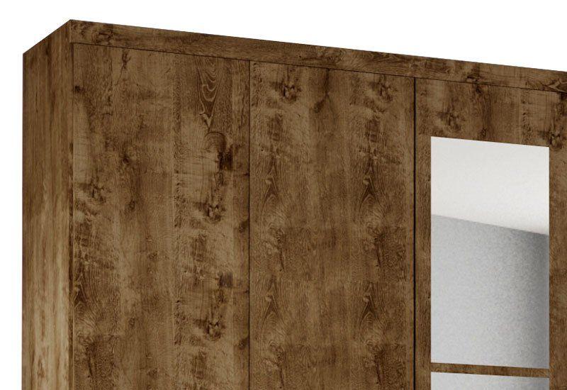 Guarda-Roupa Evolution V 6 PT 4 GV com Espelho Madeira Rústica - Móveis Bechara