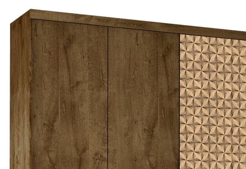 Guarda-Roupa Evolution V 6 PT 4 GV Madeira Rústica com Madeira 3D - Móveis Bechara