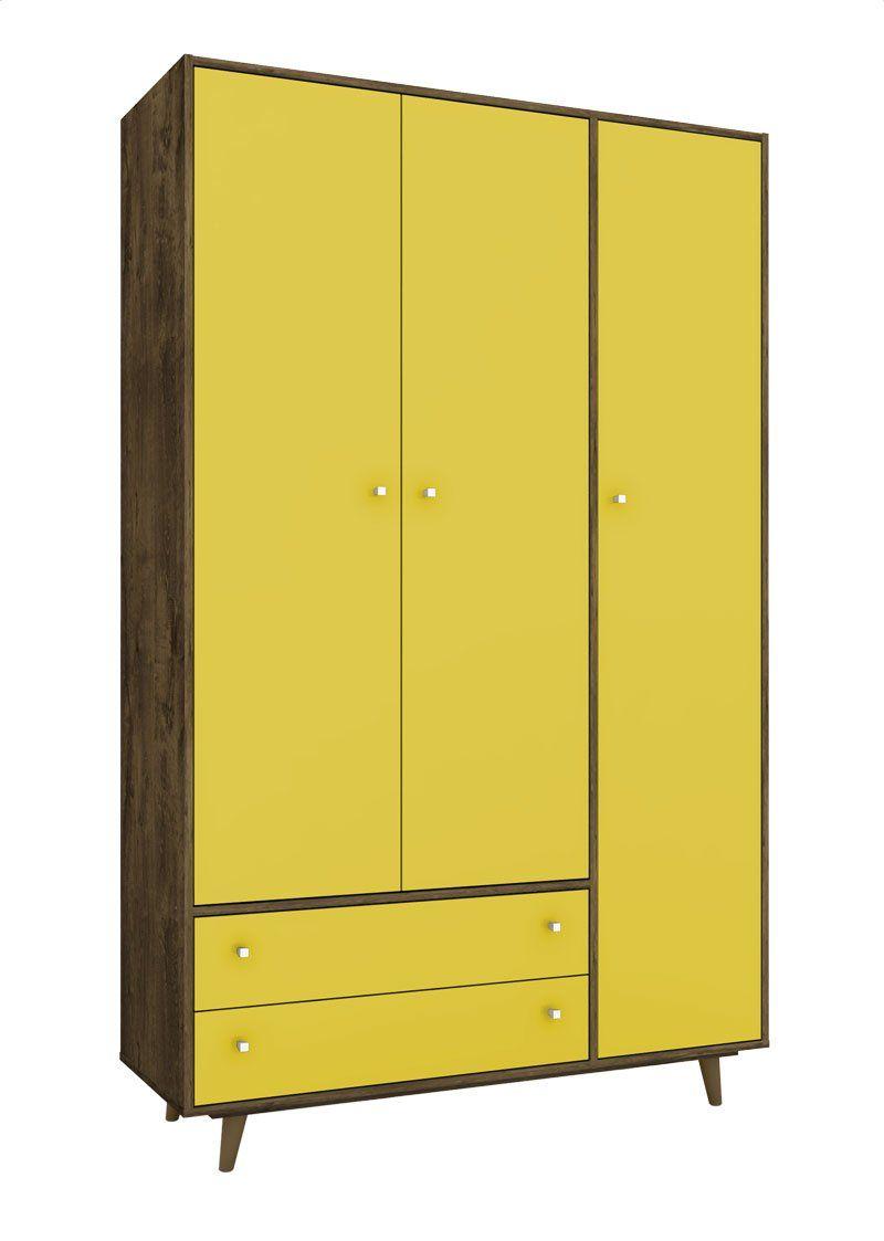 Guarda-Roupa Florença Madeira Rústica com Amarelo - Móveis Bechara