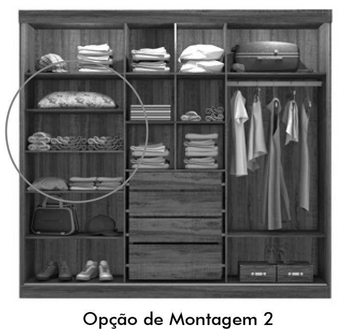 Guarda-Roupa Fortaleza com Espelho Areia com Canela - Mirarack