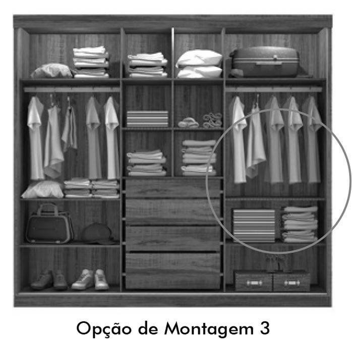 Guarda-Roupa Fortaleza com Espelho Branco com Canela - Mirarack