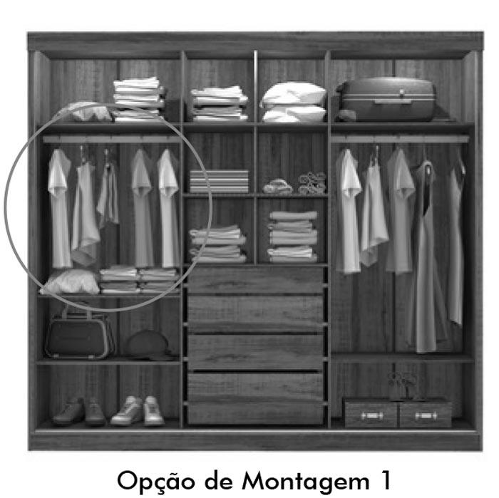 Guarda Roupa Fortaleza Pérola com Avelã - Mirarack