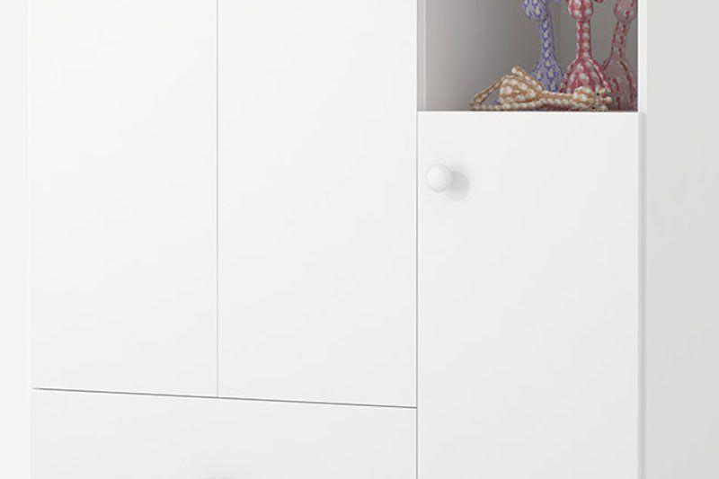 Guarda-Roupa Infantil Encanto 3 Portas Branco Brilho - Imaza Móveis
