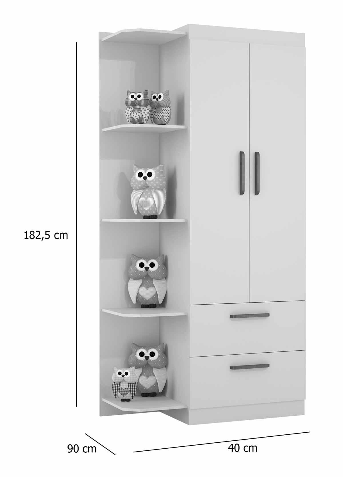 Guarda-Roupa Infantil Floc 2 Portas com Prateleira Branco Acetinado - MoveisAqui