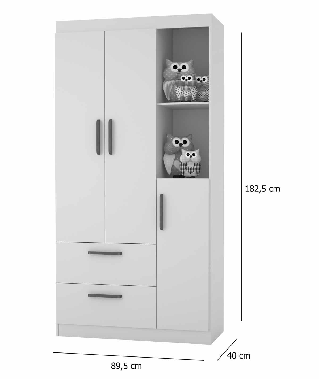 Guarda-Roupa Infantil Floc 3 Portas Cinza - MoveisAqui