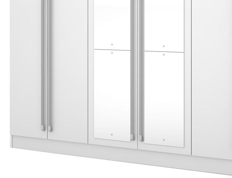 Guarda Roupa Itapema Plus III com espelho Branco - Mirarack