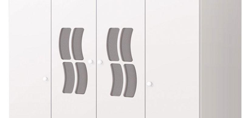 Guarda Roupa Jaana 4 Portas Branco Brilho - Imaza Moveis
