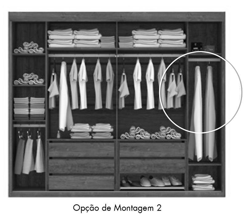 Guarda-Roupa Joinville com Espelho Rústico - Mirarack