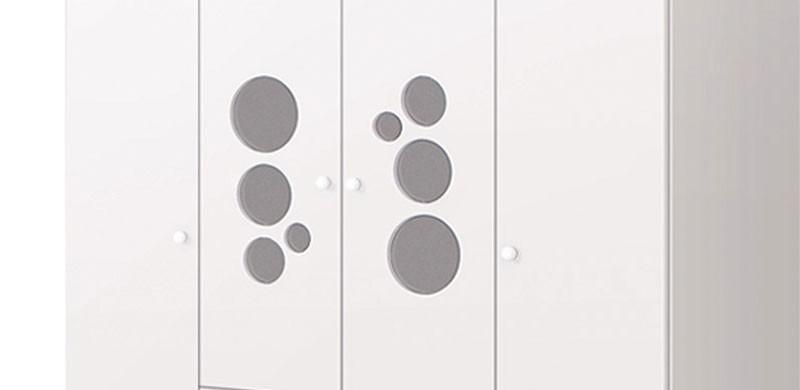 Guarda Roupa Kuka Baby 4 Portas Branco Brilho - Imaza Moveis