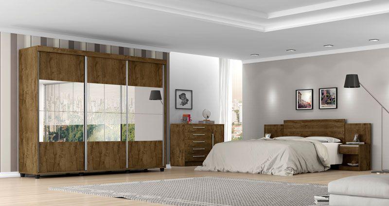 Guarda-Roupa Londres Madeira Rústica com 6 espelhos - Móveis Bechara