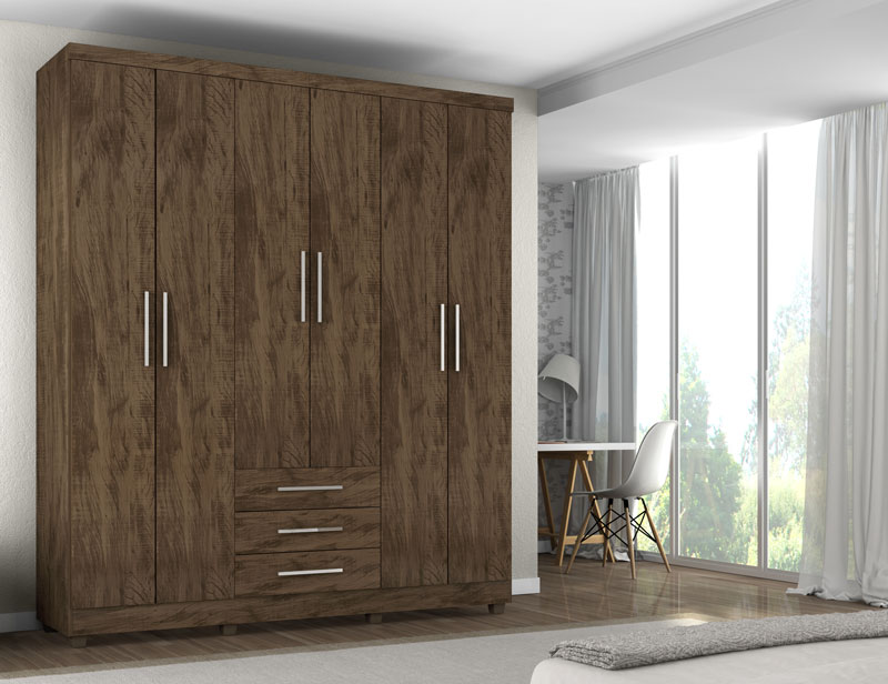 Guarda Roupa Luanda 6 Portas Gold Wood - Germai Moveis