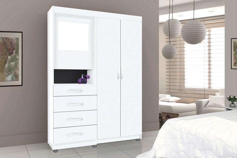 Guarda-Roupa Mega 2 Portas com Espelho Branco - Móveis Primus
