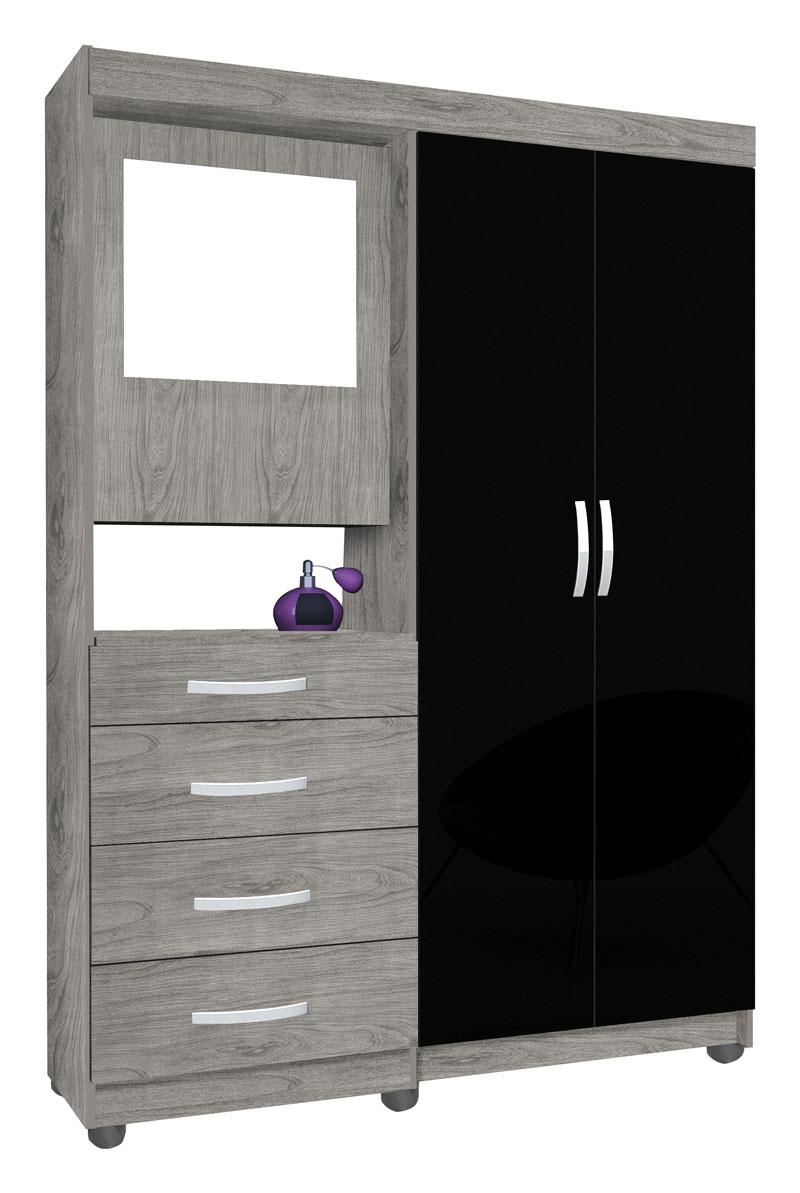Guarda Roupa Mega 2 Portas com Espelho Carvalho com Preto - Móveis Primus  - MoveisAqui - Loja de móveis online!