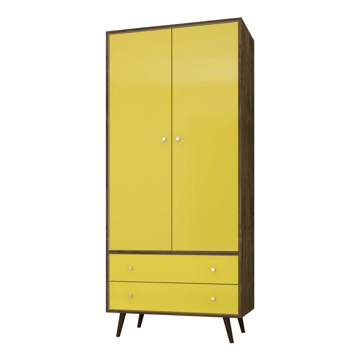 Guarda-Roupa Milão Madeira Rústica com Amarelo - Móveis Bechara