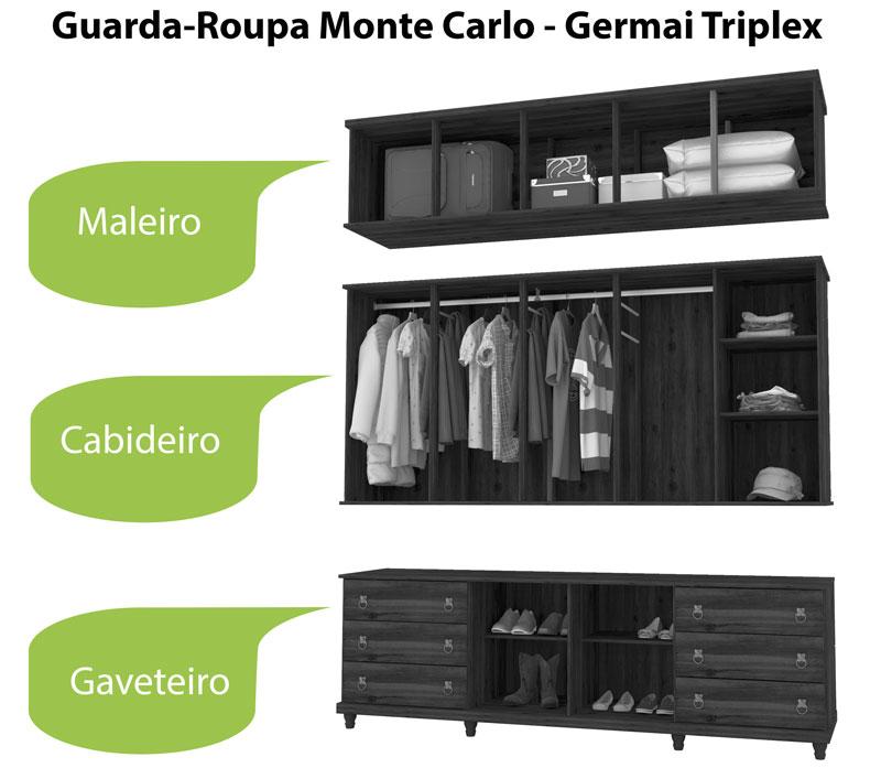 Guarda Roupa Triplex 5 Portas Monte Carlo Capucino - Germai Móveis