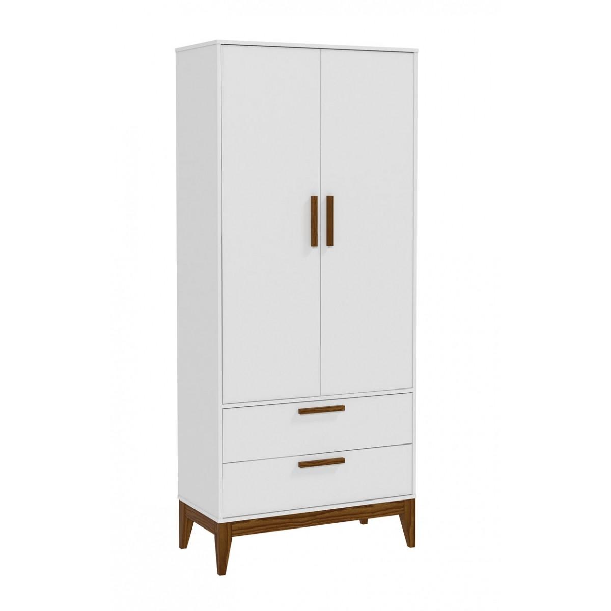 Guarda-Roupa Nature 2 Portas Branco Fosco com Eco Wood - Matic Móveis  - MoveisAqui - Loja de móveis online!