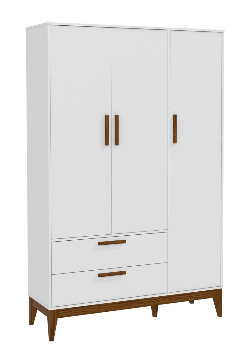 Guarda Roupa Nature 3 Portas Branco Fosco com Eco Wood - Matic Móveis
