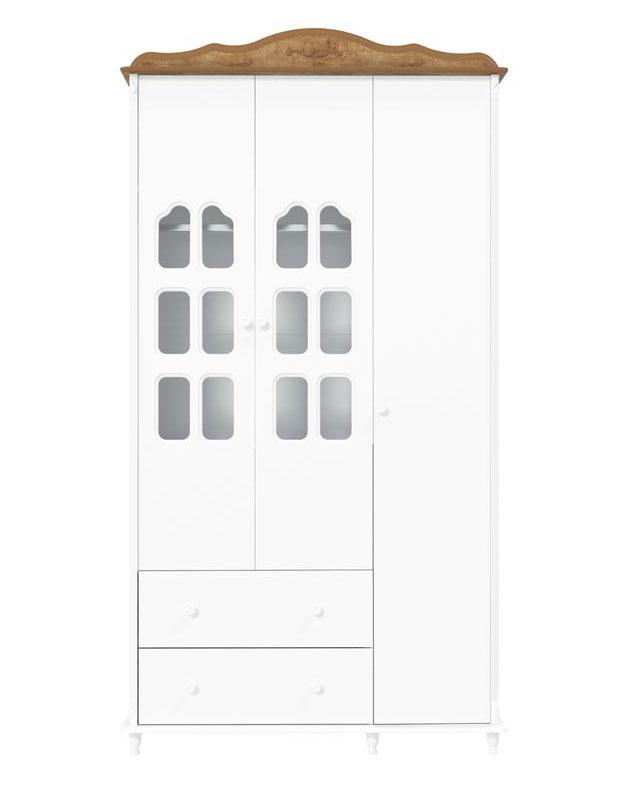 Guarda-Roupa Provence 3 Portas Branco Fosco com Teka - Matic Móveis