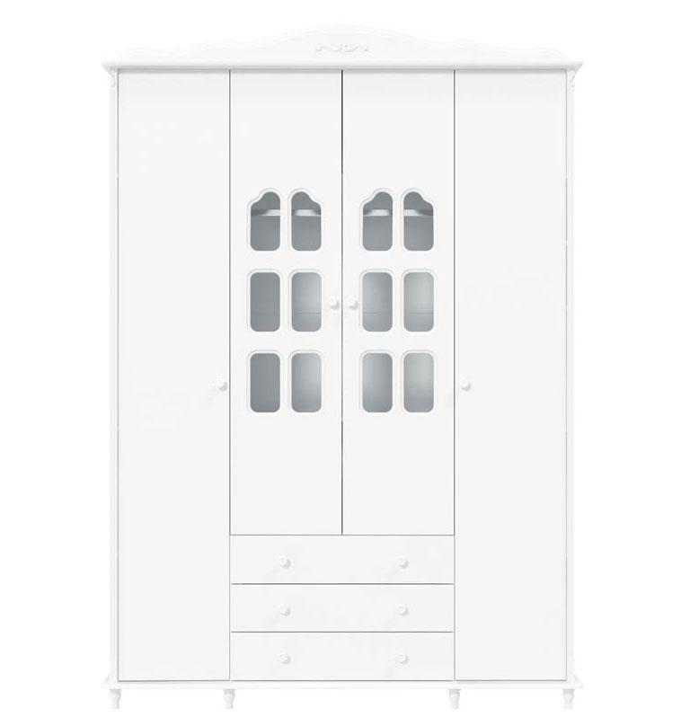 Guarda-Roupa Provence 4 Portas Branco Fosco - Matic Móveis