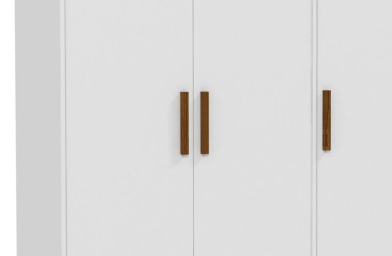 Guarda Roupa Retrô 3 Portas Branco Fosco com Eco Wood - Matic Móveis