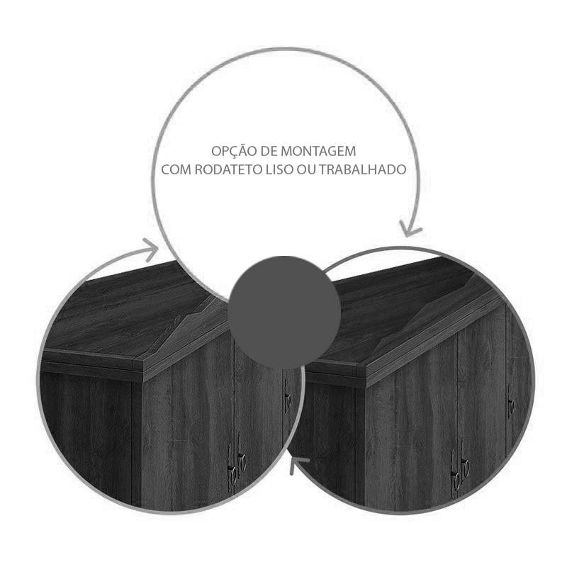 Guarda Roupa Retro Triplex 5 Portas Imperio Noce Rustico - Edn Moveis