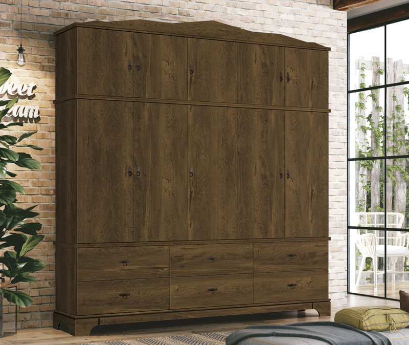 Guarda Roupa Retro Triplex 5 Portas Imperio Nogal Rustico - Edn Moveis
