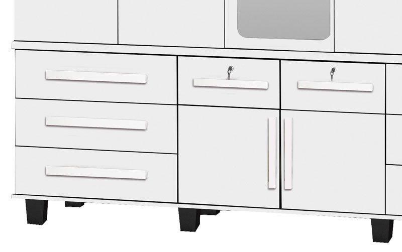 Guarda-Roupa Triplex Gávea 5 Portas com Espelho Branco Brilho - Trinobél Móveis