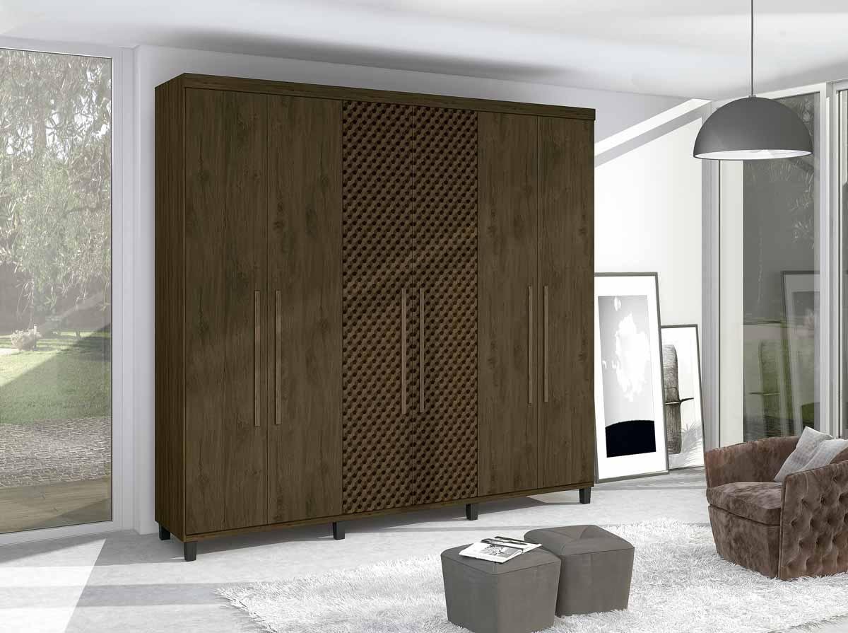 Guarda-Roupa Viena 6 Portas Capucino MAD 3D - Germai Móveis
