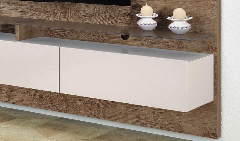 Home Suspenso 2.2 Vidratto Madeira com Off White Imcal  - MoveisAqui - Loja de móveis online!