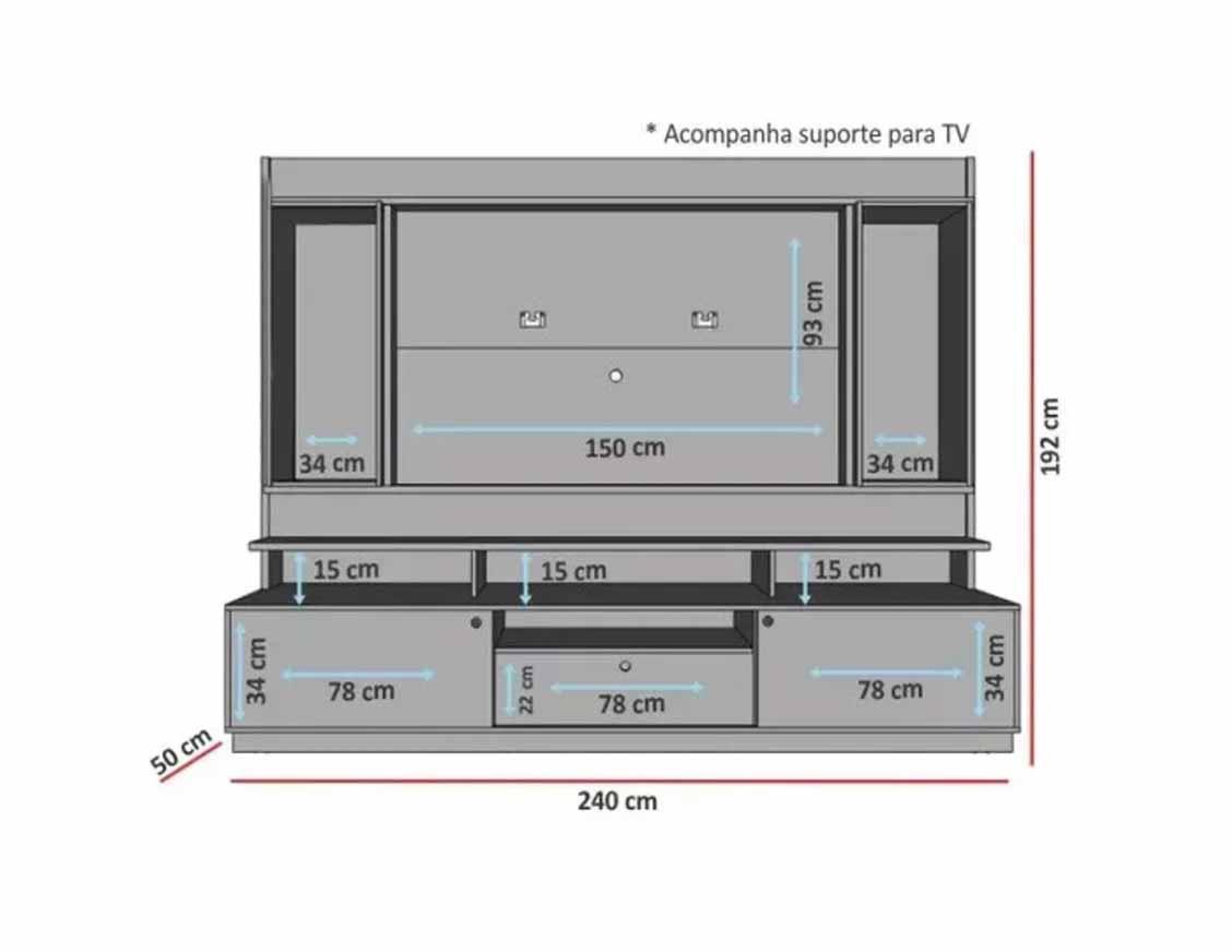 Home Theater Coliseu Off White com Naturale - EDN Móveis