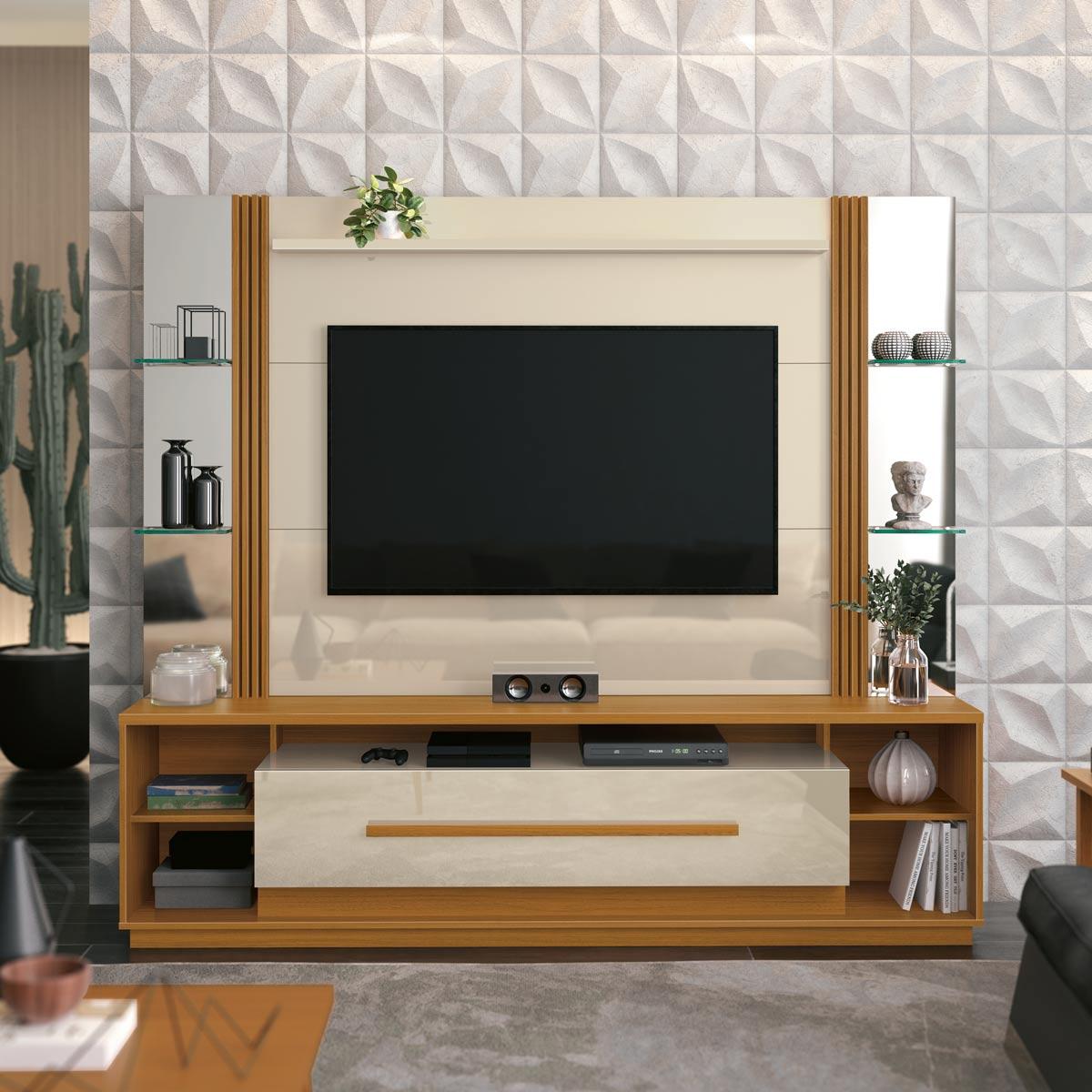 Home Theater Império Off White com Cedro Natural 2.1 - EDN Móveis