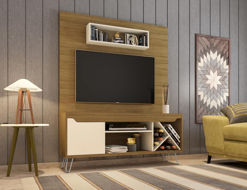 Home Theater Lauren Cinamomo com Off White - Móveis Bechara