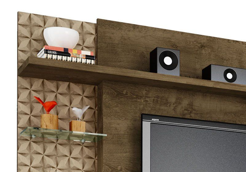 Home Theater New Torino Madeira Rústica com Madeira 3D - Móveis Bechara