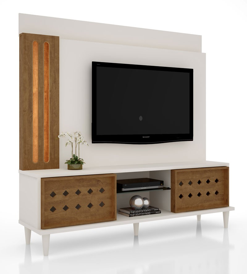 Home Theater Splendore Off White com Amêndoa - Lukaliam Móveis