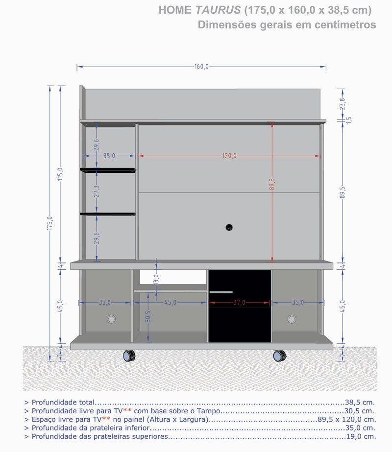 Home Theater Taurus Madeira Rústica com Madeira 3D - Móveis Bechara