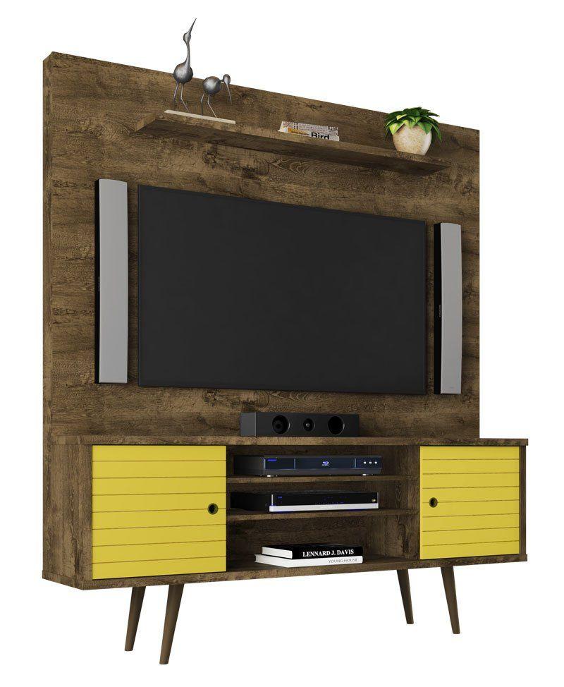 Home Tivoli Retro Madeira Rústica com Amarelo - Móveis Bechara